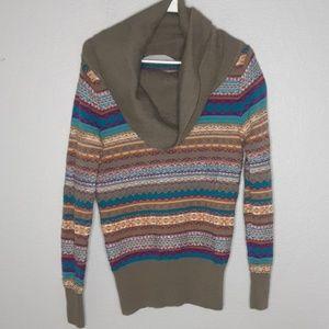 Athleta Olive Geometric Cowlneck Wool Sweater